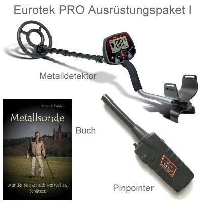 Teknetics Eurotek PRO (LTE) Ausrüstungspaket I (Metalldetektor & Pinpointer Black Huntmate & Schatzsucherhandbuch)