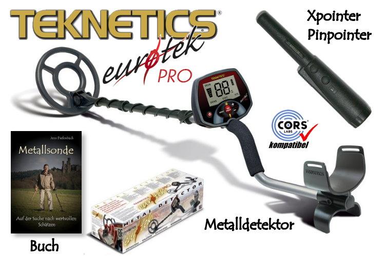 Teknetics Eurotek PRO (LTE) Ausrüstungspaket III (Metalldetektor & Deteknix Xpointer & Schatzsucherhandbuch)
