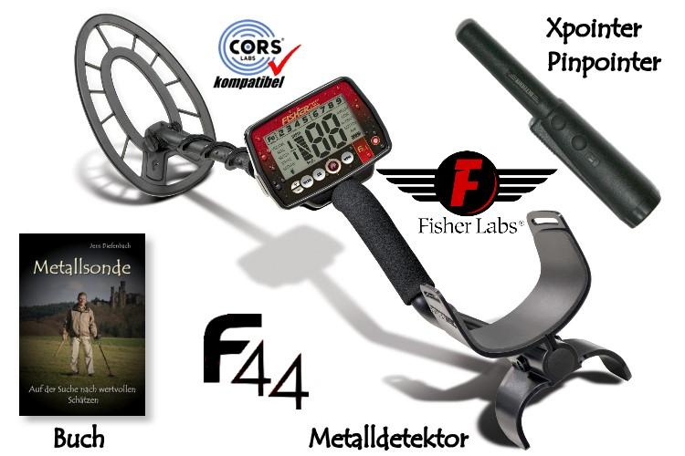 Metalldetektor Premium Ausrüstungspaket Fisher F44 mit Quest Xpointer Pinpointer